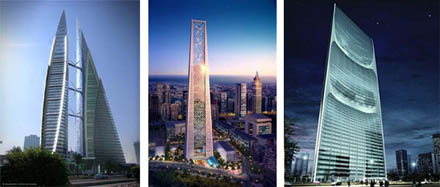 Wieżowce Bahrain WTC, Lighthouse Tower, Pearl River Tower