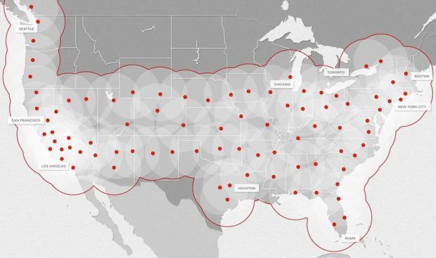 Mapa Stacji Ładowania Tesla Supercharger