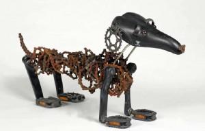 Pies jamnik ze zużytych części rowerowych