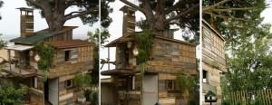 Domek na drzewie z recyklingu