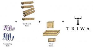 Schemat budowy tekturowego stoiska tymczasowego