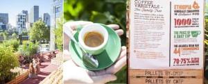 Tymczasowa kawiarnia z palet