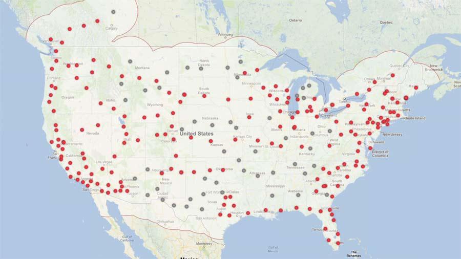 Tesla Supercharger - sieć stacji ładowania w USA