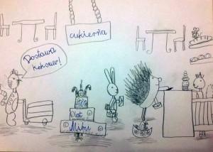 Dziecięcy rysunek ołówek cukiernia zwierzęta