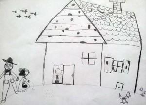 Dziecięcy rysunek dziad i baba dom kurki