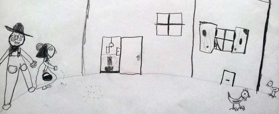 Dziecięcy rysunek dom