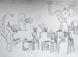 Dziecięcy rysunek szkoła zwierzęta